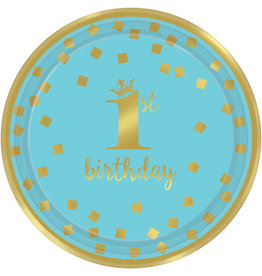 Amscan 1e verjaardag borden blauw goud 17.8 cm 8 stuks