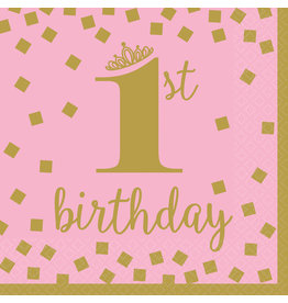 Amscan servetten 1e verjaardag goud roze groot 16 stuks