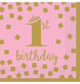 Amscan servetten 1e verjaardag goud roze klein 16 stuks