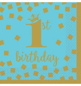 Amscan servetten 1e verjaardag goud blauw klein 16 stuks