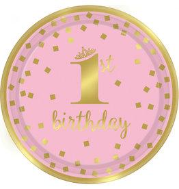 Amscan 1e verjaardag borden roze goud 22.9 cm 8 stuks