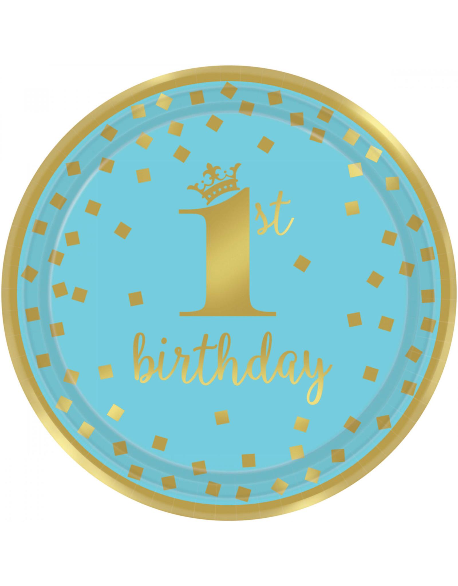 Amscan 1e verjaardag borden blauw goud 22.9 cm 8 stuks