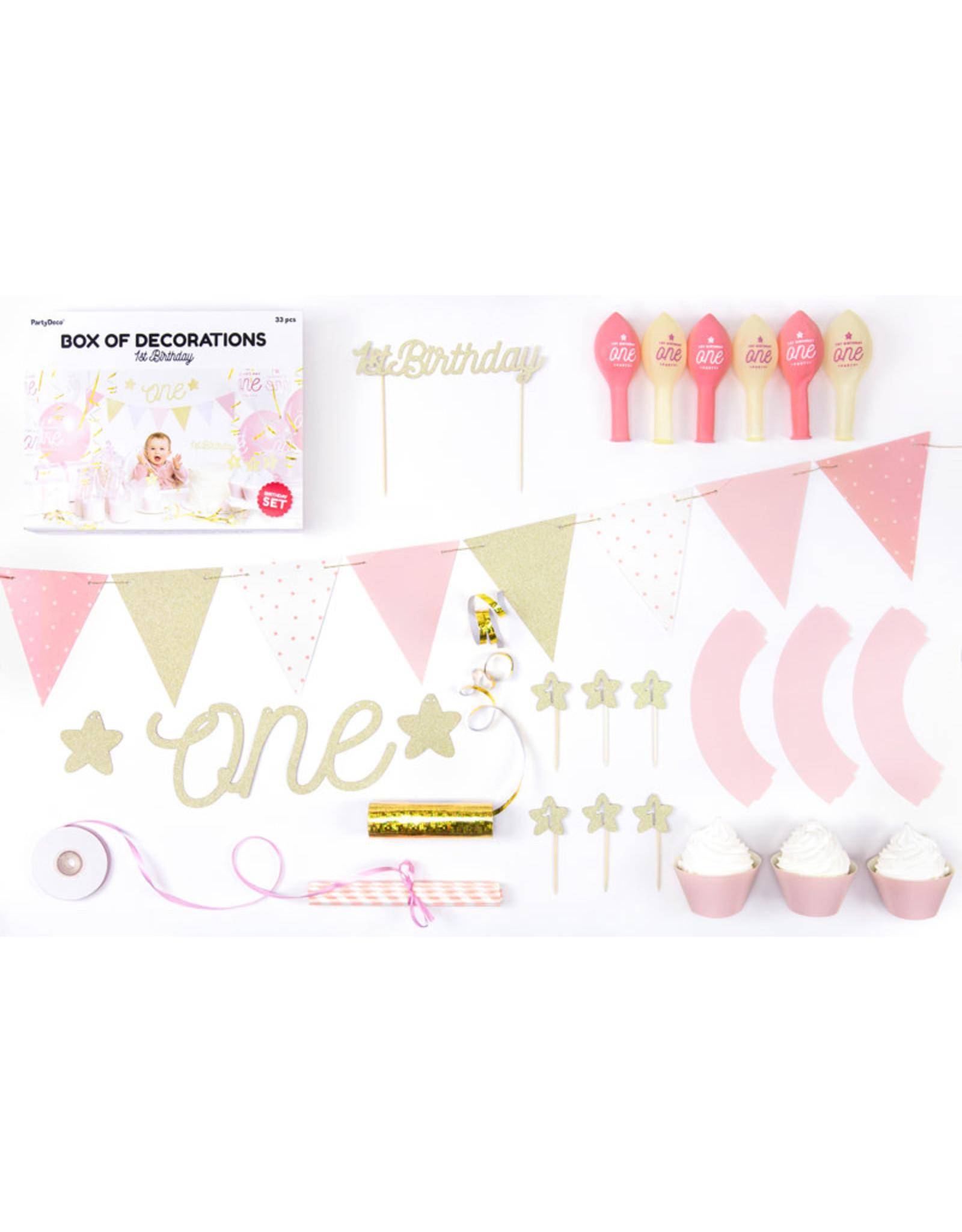 1st birthday decoratie set roze 33-delig