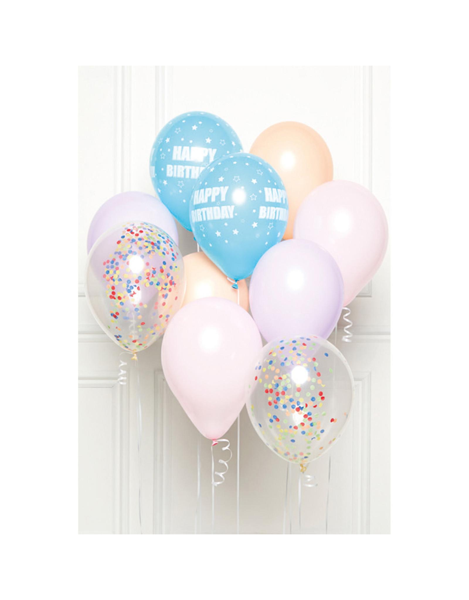 Ballonnenset happy birthday pastel 10 stuks