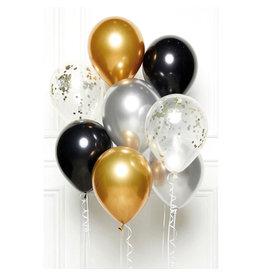 Ballonnenset goud, zilver, zwart 8 stuks