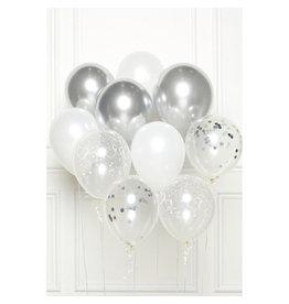 Ballonnenset zilver/wit 10 stuks