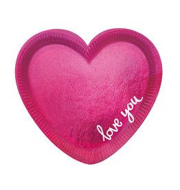 Amscan love hartvormige borden 6 stuks