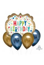 Amscan folie/latex ballonnenboeket blauw/goud 5-delig