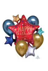 Amscan folie/latex ballonnenboeket 5-delig chrome goud/blauw