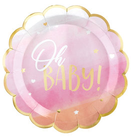 Amscan OH BABy girl borden  baby roze.goud 26.6 cm 8 stuks
