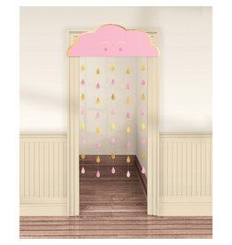 Amscan OH BABY deurgordijn baby roze goud