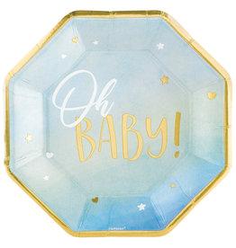 Amscan OH BABY borden baby blauw/goud 25 cm 8 stuks