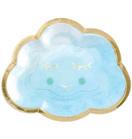 Amscan hello world borden blauw goud wolk 8 stuks