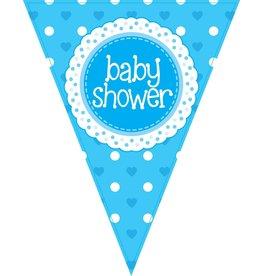 Vlaggenlijn babyshower blauw 3,9 meter