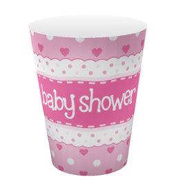 Babyshower  bekers roze 8 stuks