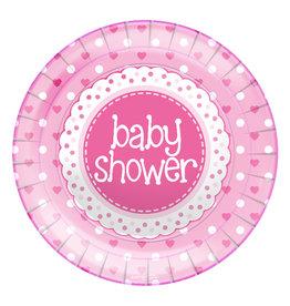 Babyshower borden roze 23 cm 8 stuks