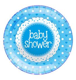 Babyshower borden blauw 23 cm 8 stuks