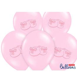 Ballonnen baby roze schoentjes 30 cm 6 stuks
