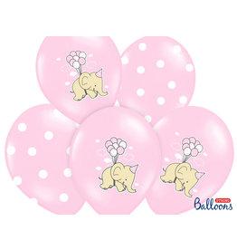 Ballonnen baby roze olifant 30 cm 6 stuks