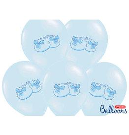 Ballonnen baby blauw schoentjes 30 cm 6 stuks