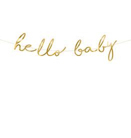 Letterbanner hello baby goud 2 meter
