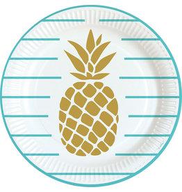 Amscan ananas borden 23 cm 8 stuks