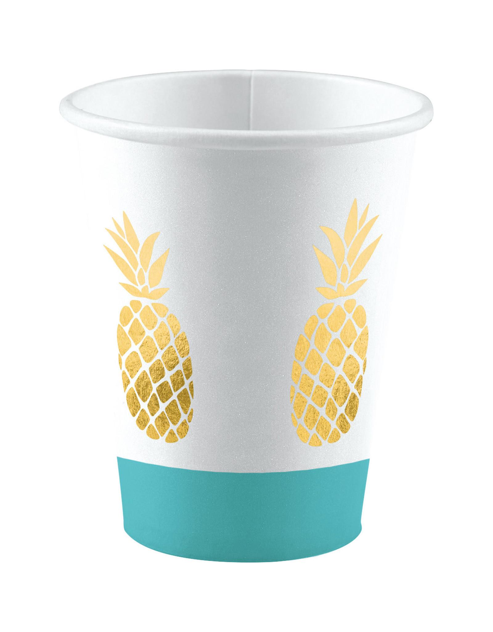 Amscan ananas bekers 8 stuks 250 ml