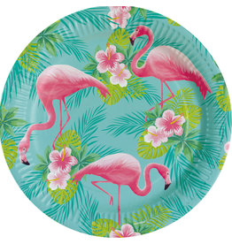 Amscan flamingo borden 23 cm 8 stuks