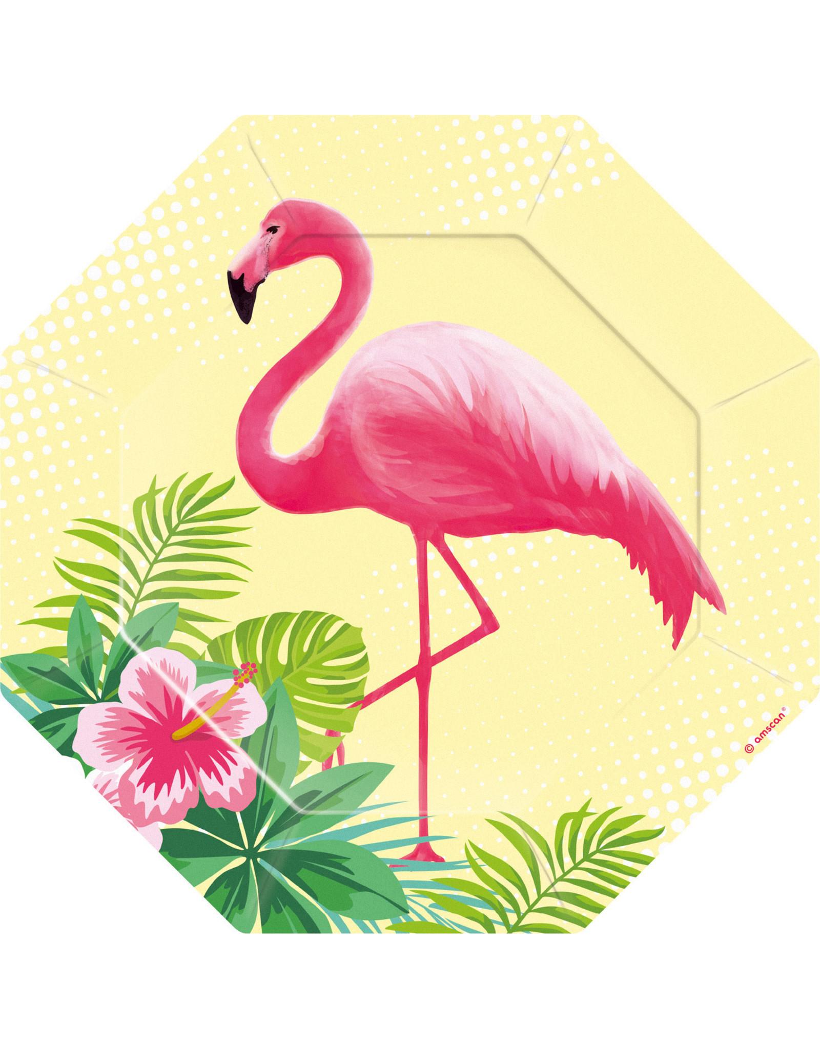 Amscan flamingo paradise borden 6 stuks