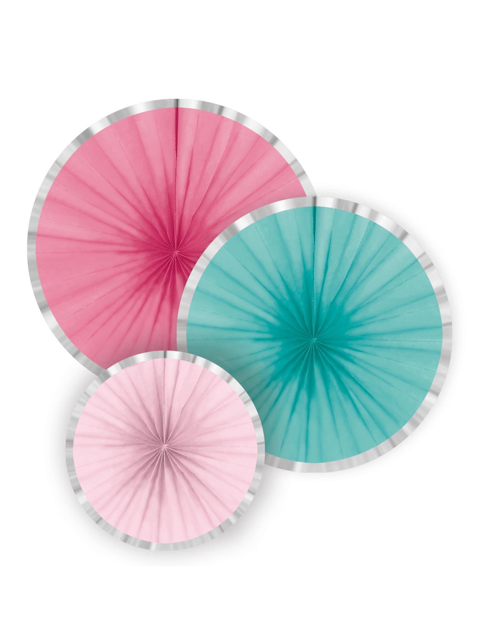Amscan flamingo papieren waaiers 3 stuks