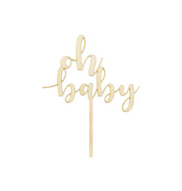 Cake topper oh baby hout