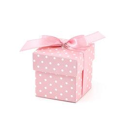 Geschenkdoosje baby roze, witte stip 10 stuks