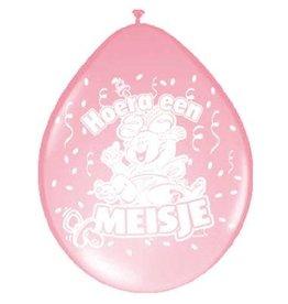 Latex ballonnen hoera een meisje 8 stuks