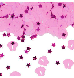 Tafelconfetti roze baby voetjes
