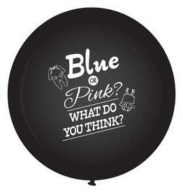 XXL Gender Reveal ballon Blue or pink? 90 cm