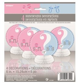 Gender Reveal mini honeycombs 4 stuks