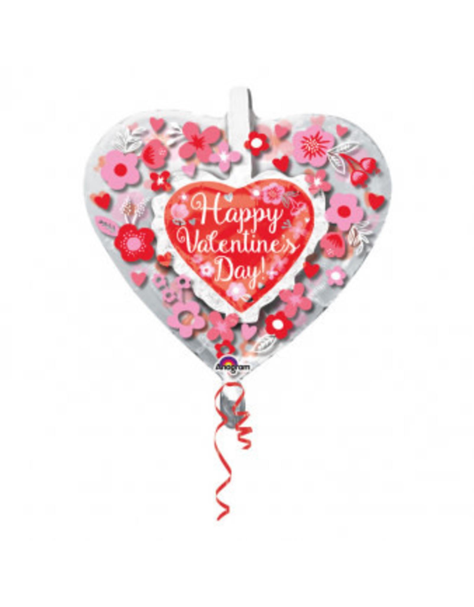 Amscan folieballon insiders happy valentine hart met bloemetjes 60cm