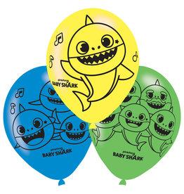 Baby Shark latex ballonnen 6 stuks