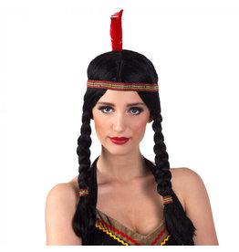 Boland pruik indiaanse Annea met hoofdband zwart