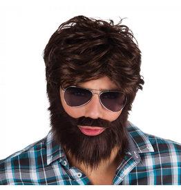 Boland pruik dude met baard 1 stuk