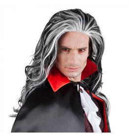 Boland pruik vampier louis zwart grijs
