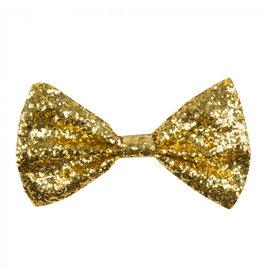 Boland vlinderstrik goud glitter 1 stuk