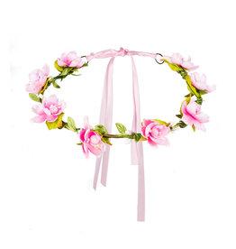 boland hoofdband roze bloemetjes 1 stuk
