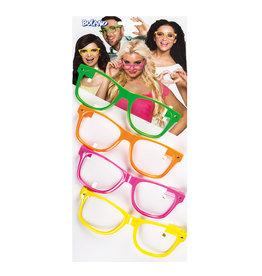 Boland brillen neon 4 kleuren 4 stuks