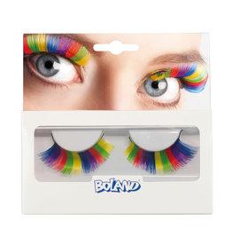 Boland wimpers regenboog kleuren 1 set