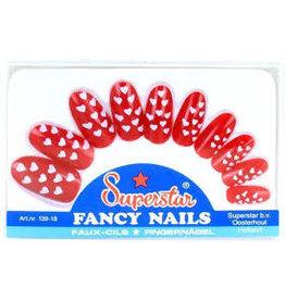 Superstar fancy nails rood met hartjes