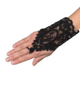 Boland kanten handschoenen zwart