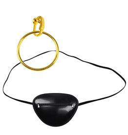 Ooglap zwart met gouden oorbel