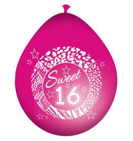 Ballonnen sweet 16 roze 8 stuks