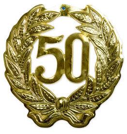 Muurdecoratie 50 goud 1 stuk
